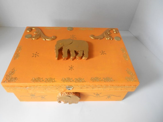 Orange and Gold Decorated Memory Box India Inspired