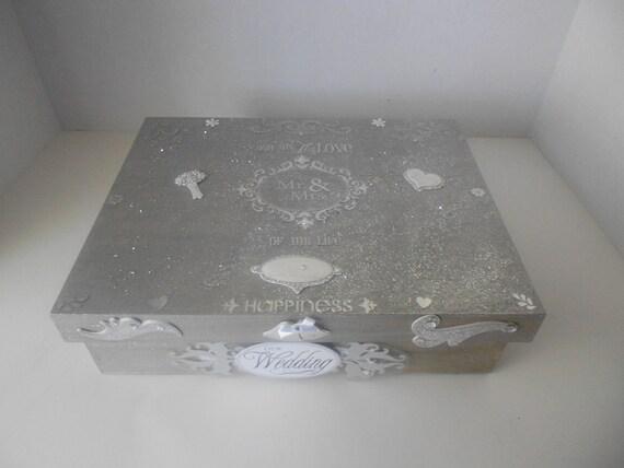I will Sparkle for you Silver glitter wedding memory storage box