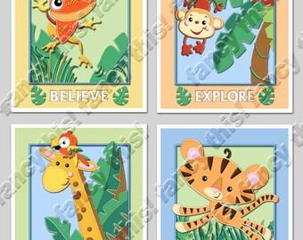 RAINFOREST JUNGLE 8x10 Baby Nursery Art Prints, set of 4 includes a monkey, tiger, giraffe, frog