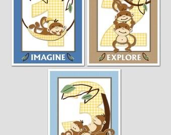 MONKEY BUSINESS 8x10 Baby Nursery Art Prints, set of 3 includes a monkey, numbers