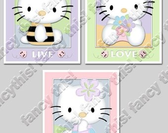 HELLO KITTY 8x10 Baby Nursery Art Prints, set of 3 includes Hello Kitty, ladybugs, flowers