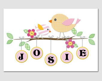 Nursery Art Bird Print DILLY 12x18 Personalized with your name