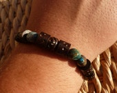 Men's Brown Wood & Blue Stone Wrist Beads