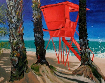 "Sunset Beach Lifeguard Tower 24""x36"" giclee 1.5"" gallery wrap canvas print"