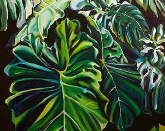 """Hawaiian Monsterra Leaves 5""""x7"""" archival art print with 8""""x10"""" double matting in white with black trim."""