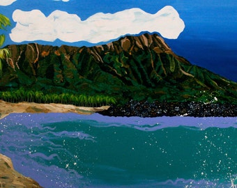 """Diamond Head 8""""x10"""" print  with 11""""x14"""" double matting in white with black trim.  Print on archival luster paper"""