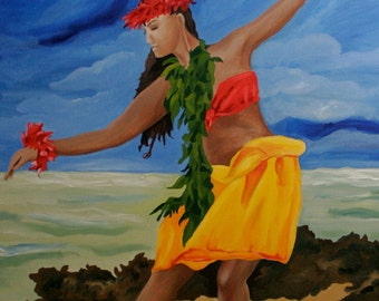 """Hawaiian Hula Dancer 5""""x7"""" fine art print with  8""""x10""""  double matting in black with white trim on archival luster paper"""