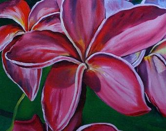 "Plumerias 11""x13 3/4""x1/2"" white borders fine art archival print. Featured on this season of Hawaii 5-00 backround scenes."