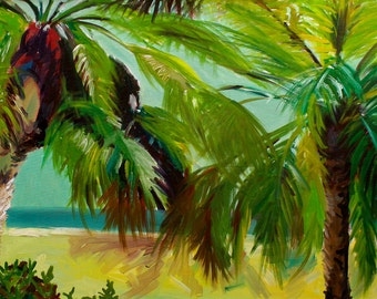 """Palm Trees 11""""x17 3/4"""" fine art archival print with 1/2"""" white border for framing on archival semi gloss thick fine art paper. Tropical."""