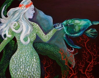"""Mermaid and turtle 14""""x11"""" fine art print with 20""""x16""""double matting in white with black trim"""