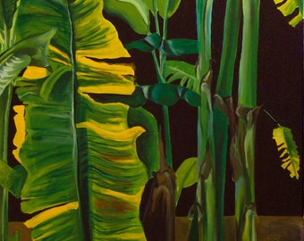 """Banana Leaves 5""""x7"""" fine art print with 8""""x10"""" matting in white with black trim."""