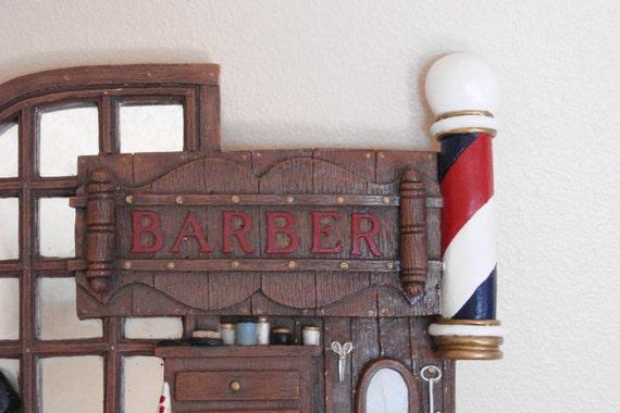Barber Shop Plaque - Handmade Mirrored Ceramic Plaque