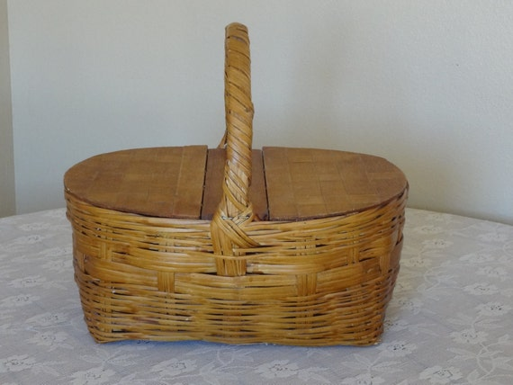 Vintage Woven Picnic Basket with Double Lid