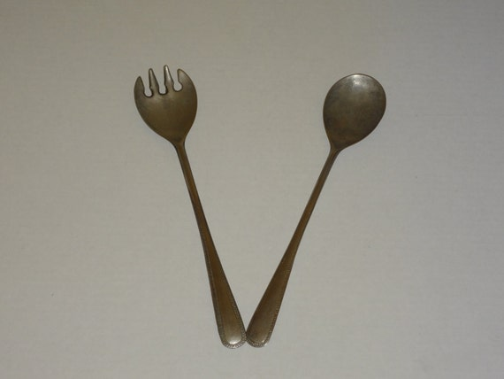 Vintage Silver Plated Serving Fork and Spoon Made in Italy