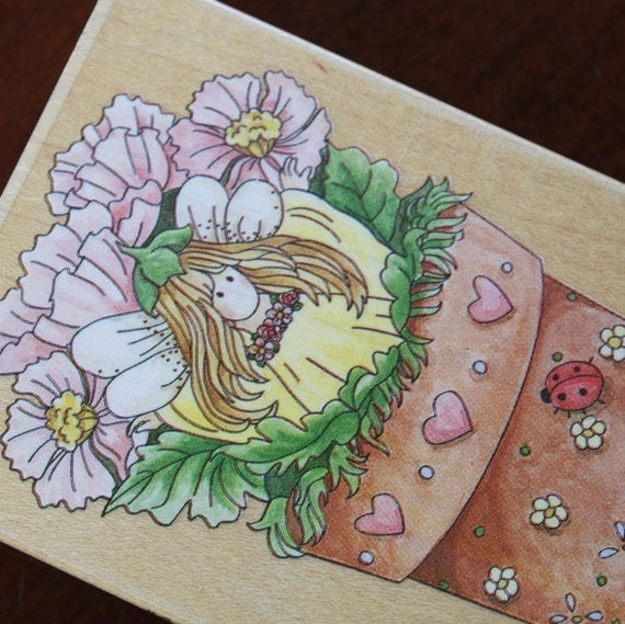 Poppy Fairy in the Flower pot No60029 Mounted Rubber Stamp Little girl fairy with daisies and poppies