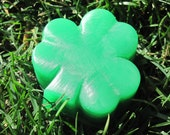 4 Lucky Charm, St. Patricks Day luck of the Irish Green Clover Soaps