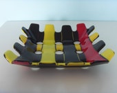 Sold but can be made to order - Black, Yellow and Red Square Glass Dish