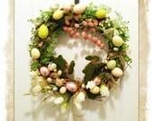 Easter Spring Wreath- Happy Easter Wreath- Easter Egg Bunny Wreath- Spring Wreath