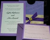 Custom Pocket Brad and Ribbon Wedding Invitations with  Response Card