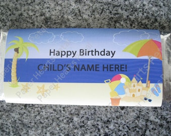 Customized Beach Fun in the Sun Summer Candy Bar Wrapper for Baby Shower / Birthday,  Printed pack of 25 wrappers - Foil wrap included