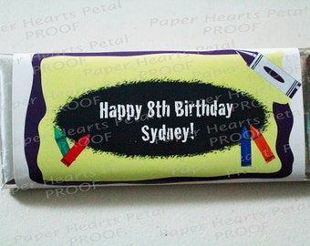 Customized Crayon  Candy Bar Wrapper, Printed pack of 25 wrappers - Foil wrappers included