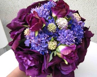 Hand-tied Silk Wedding Bridal Purple Roses and Garden Flower Bouquet - Customize to your theme or colors