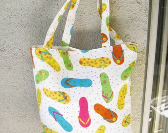 Flip Flop Fun in the Sun Stain/Dirt Resistant tote - perfect for grocery shopping, gym, beach and everyday use - Perfect Bridal Shower Gift