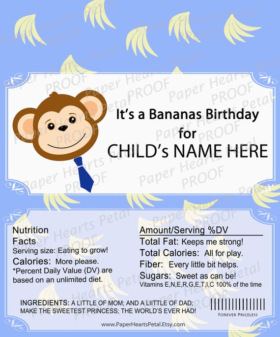 Personalized Boy or Girl Jungle Safari Animal Monkey Shower / Birthday Candy Bar Wrapper,  Printed pack of 25 wrappers - Foil wrap included