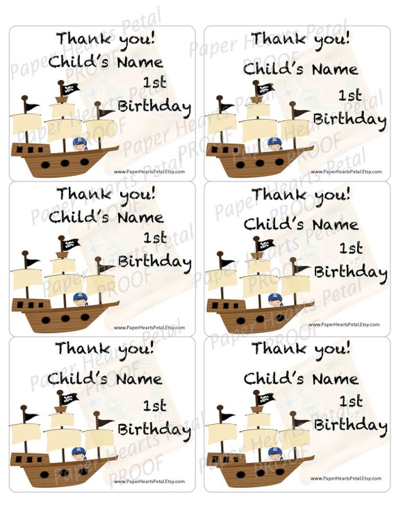 Personalized Boy or Girl Pirates Booty Theme Candy bag Thank you stickers for Showers / Birthdays,  Printed sheet of 6 stickers per page