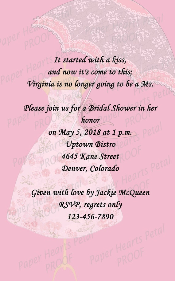 Southern Belle Dress Form and Lace Umbrella Bridal Shower Invitation - Made to order in your color choices