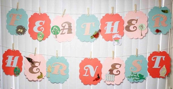 Customized Baby Shower Banner Feather Her Nest Clothes Line Theme - you select colors / theme - FREE SHIPPING