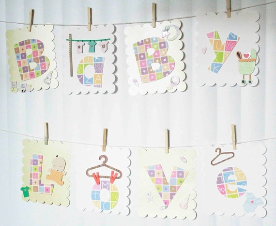 Customized Deluxe Baby Shower Banner Clothes Line Theme - you select colors  - FREE SHIPPING