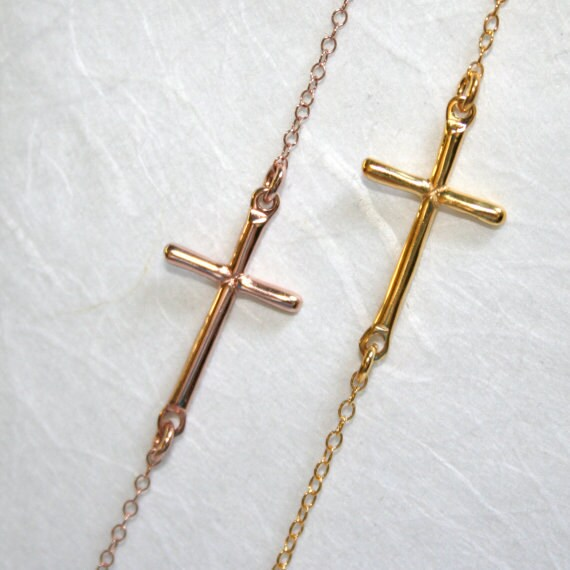 Rose Gold SIDEWAYS CROSS Necklace (Sterling Silver-Rose Gold Plated,Centered) GL006