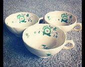 Super Cute Tea Cup with Green Floral Design
