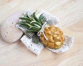 Pineapple Lace Brooch with Rhinestones - Fruit Jewelry - Unique Jewelry