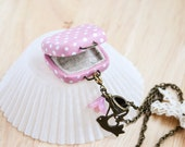 Retro Polka Dot Pink SUITCASE Locket Necklace - Miniature Pendant - Unique Gift for Her
