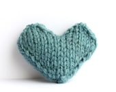 Heart pin brooch hand knitted in seafoam, valentines heart, love heart, friendship heart