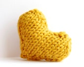Heart pin brooch knitted in mustard yellow - valentines day