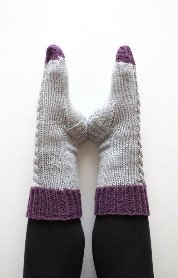 Knitting Pattern For Aran Socks : Sock Knitting Pattern INSTANT DOWNLOAD Slipper Socks, Thick socks, Bed Socks,...