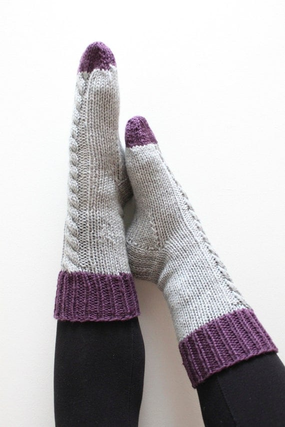 Aran Sock Knitting Pattern : Sock Knitting Pattern INSTANT DOWNLOAD Slipper Socks ...