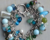 Bracelet with Blue, Green, White Glass Beads