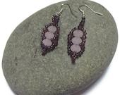 Pink Beaded Earrings, Flat Spiral Beaded Jewellery