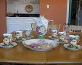 Antique Chocolate Set 15 pieces Roses Hand Painted Made in Germany Porcelain 1900 -1910