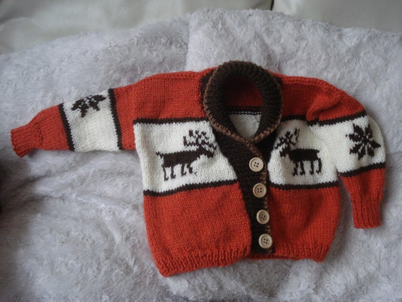 Hand Knitted Moose picture cardigan