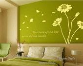 flower wall decals nursery vinyl wall decals flowers wall sticker stencil maural wall vinyl decal girl room decor-Sunflowers
