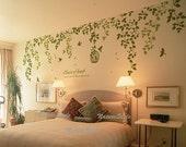 Beautiful Flowers with Flying Birds and Birdscage-Vinyl Wall Decal vinyl vine wall sticker birdcage birds wall decor nursery decor