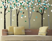 tree wall decal nursery wall decal baby wall decal office wall decal flying birds decal bedroom decal-6 Birch Tree with Colorful leaves