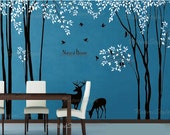 Birch Tree with Flying Birds and Deer-Vinyl Wall Decal,Sticker,nursery decal wall decor tree decal girl decor children room decal