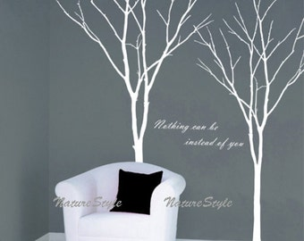 Party wall decal nursery wall decal winter tree decals  room decor wedding wall decal-Two Winter Trees