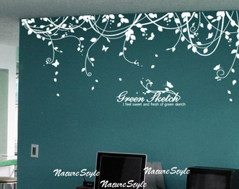 Abstract Flowers with Butterflies-Vinyl Wall Decal,Sticker,Nature Design